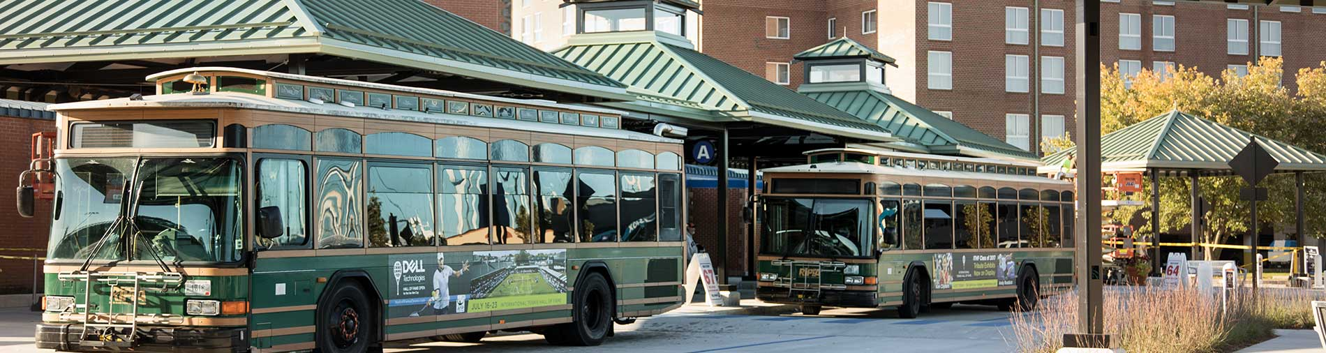 RIPTA transit center, buses and shelters.